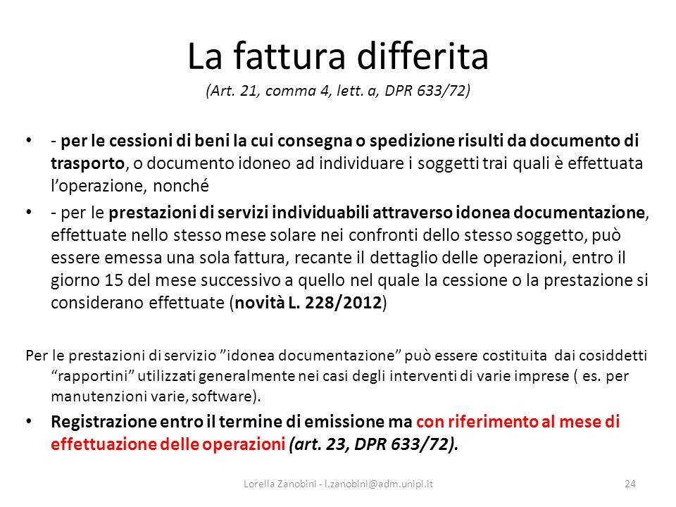 La fattura differita (Art. 21, comma 4, lett. a, DPR 633/72)