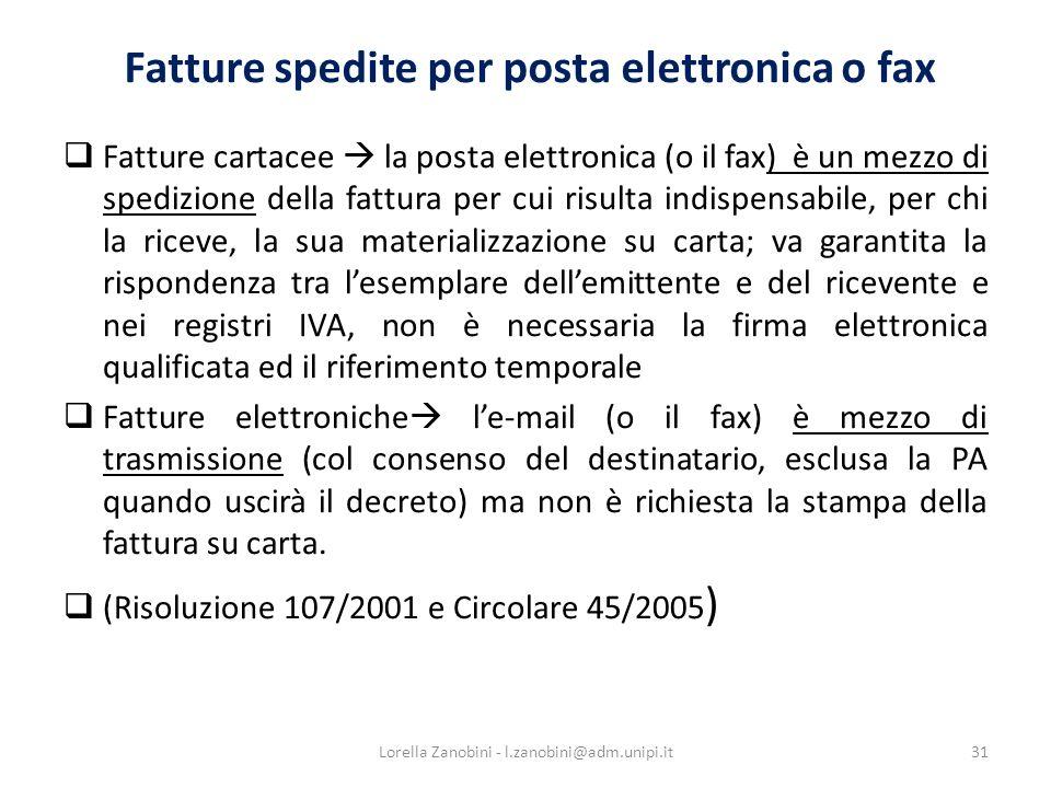 Fatture spedite per posta elettronica o fax