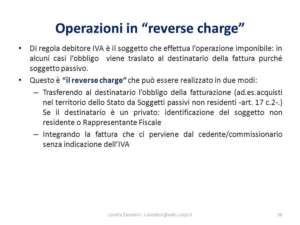 Operazioni in reverse charge