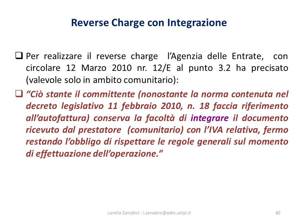 Reverse Charge con Integrazione