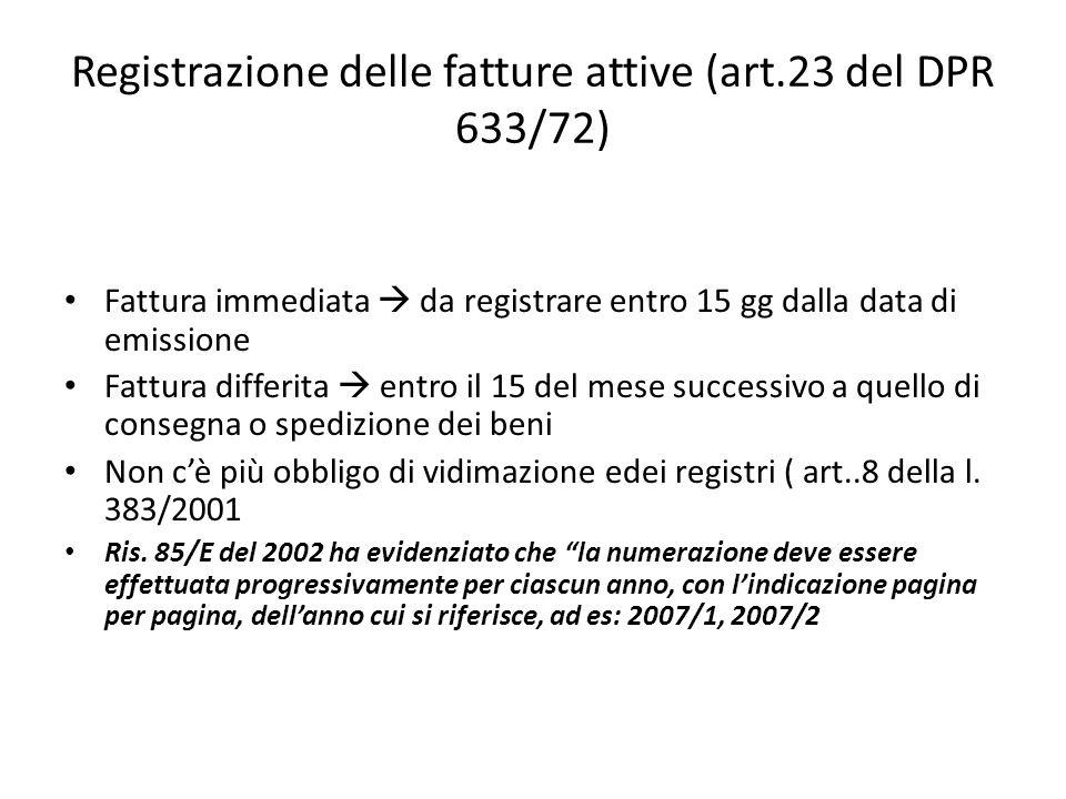 Registrazione delle fatture attive (art.23 del DPR 633/72)