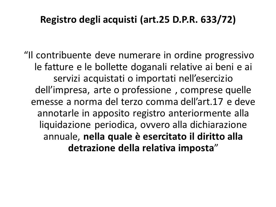 Registro degli acquisti (art.25 D.P.R. 633/72)