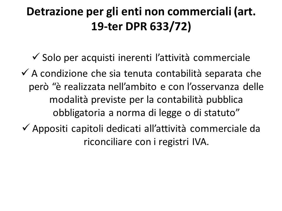 Detrazione per gli enti non commerciali (art. 19-ter DPR 633/72)
