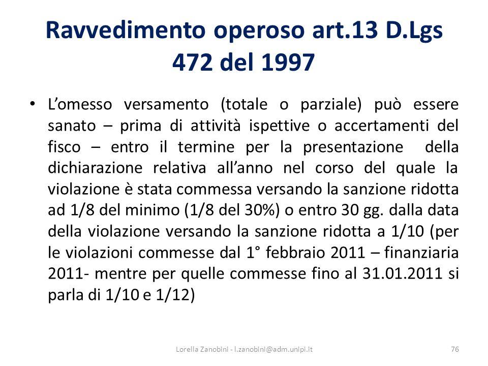 Ravvedimento operoso art.13 D.Lgs 472 del 1997