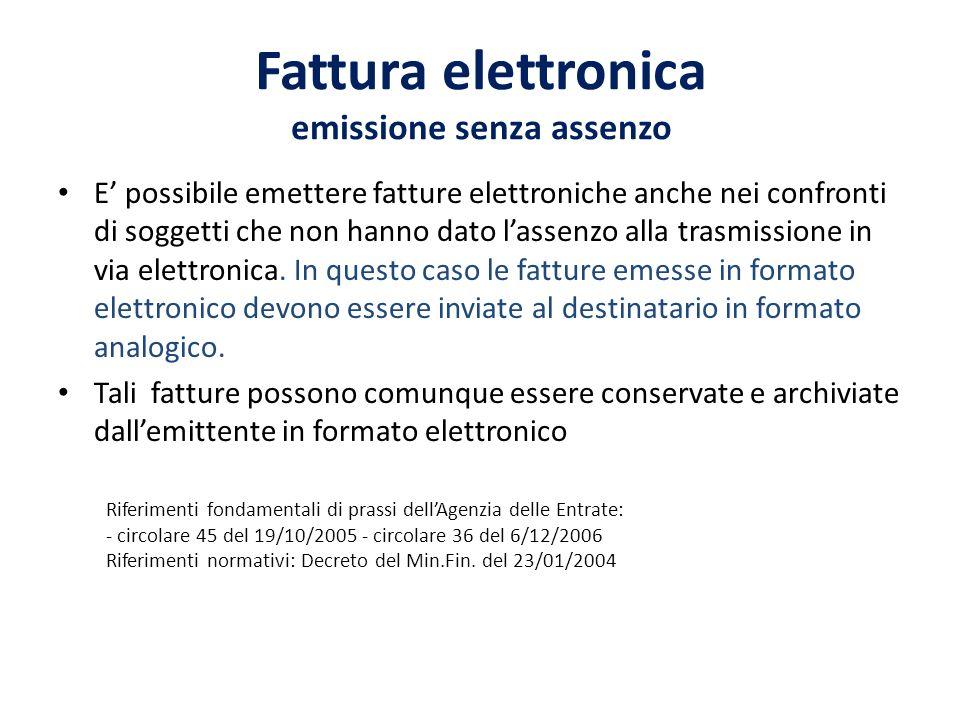 Fattura elettronica emissione senza assenzo