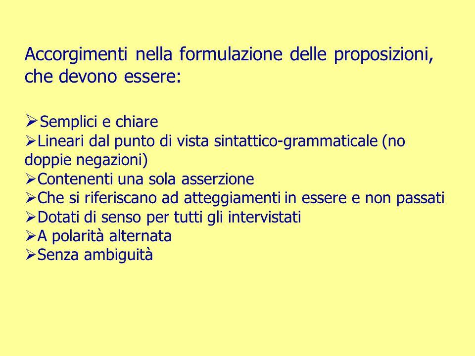 Accorgimenti nella formulazione delle proposizioni, che devono essere: