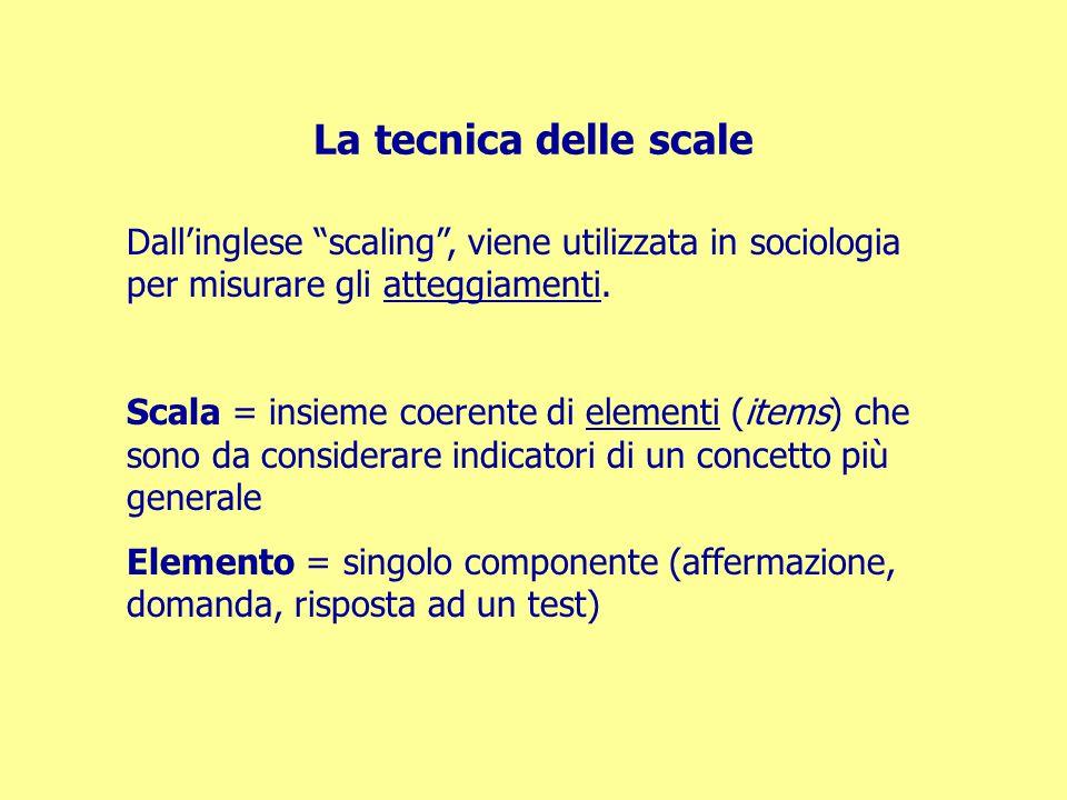La tecnica delle scale Dall'inglese scaling , viene utilizzata in sociologia per misurare gli atteggiamenti.