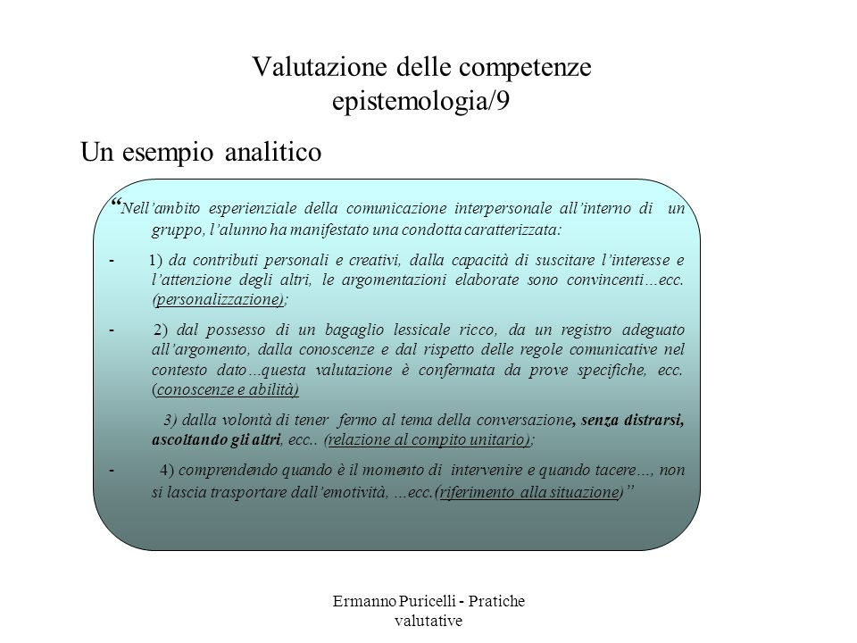 Valutazione delle competenze epistemologia/9