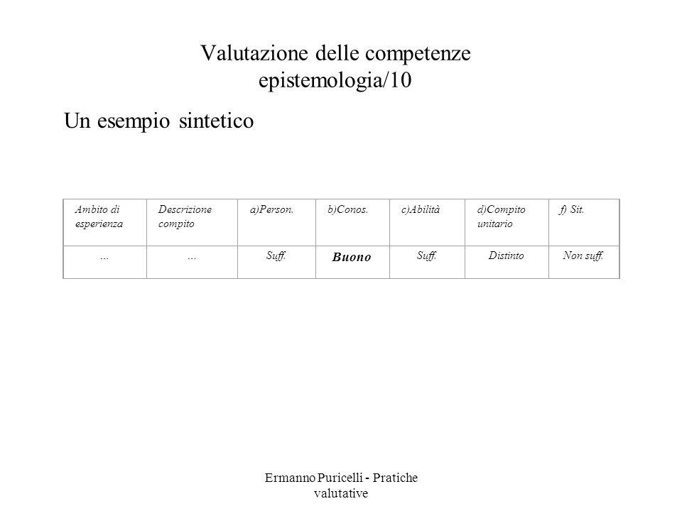 Valutazione delle competenze epistemologia/10
