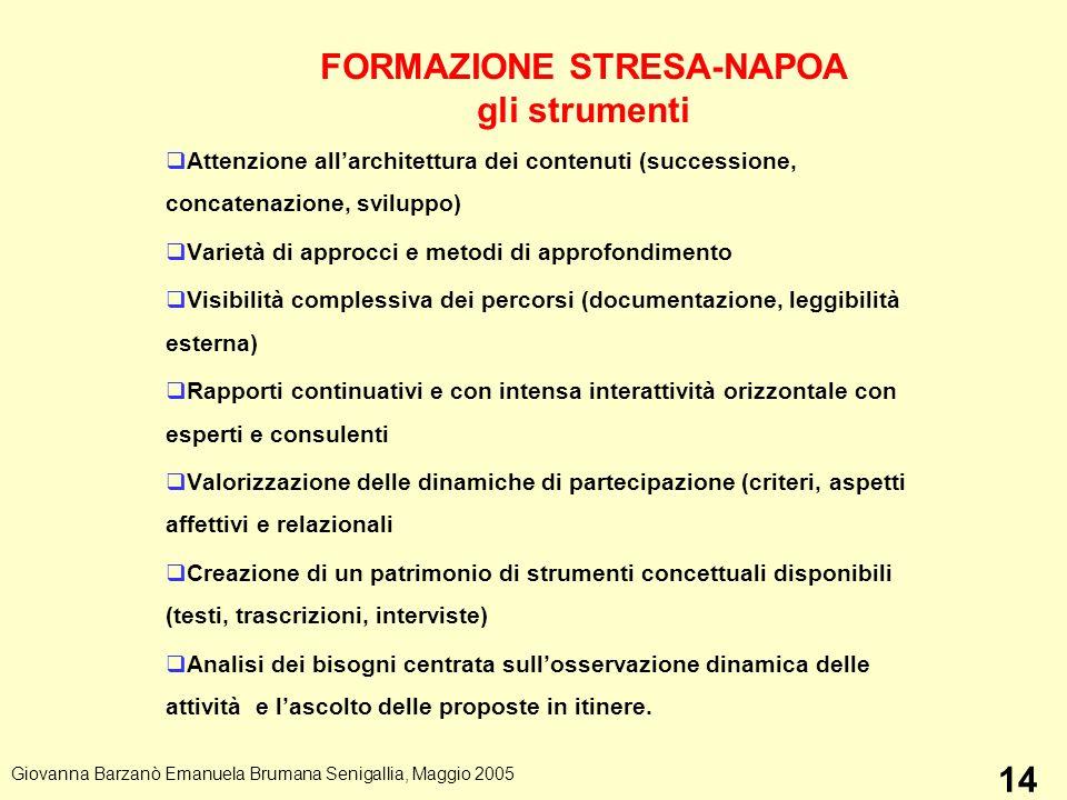 FORMAZIONE STRESA-NAPOA gli strumenti