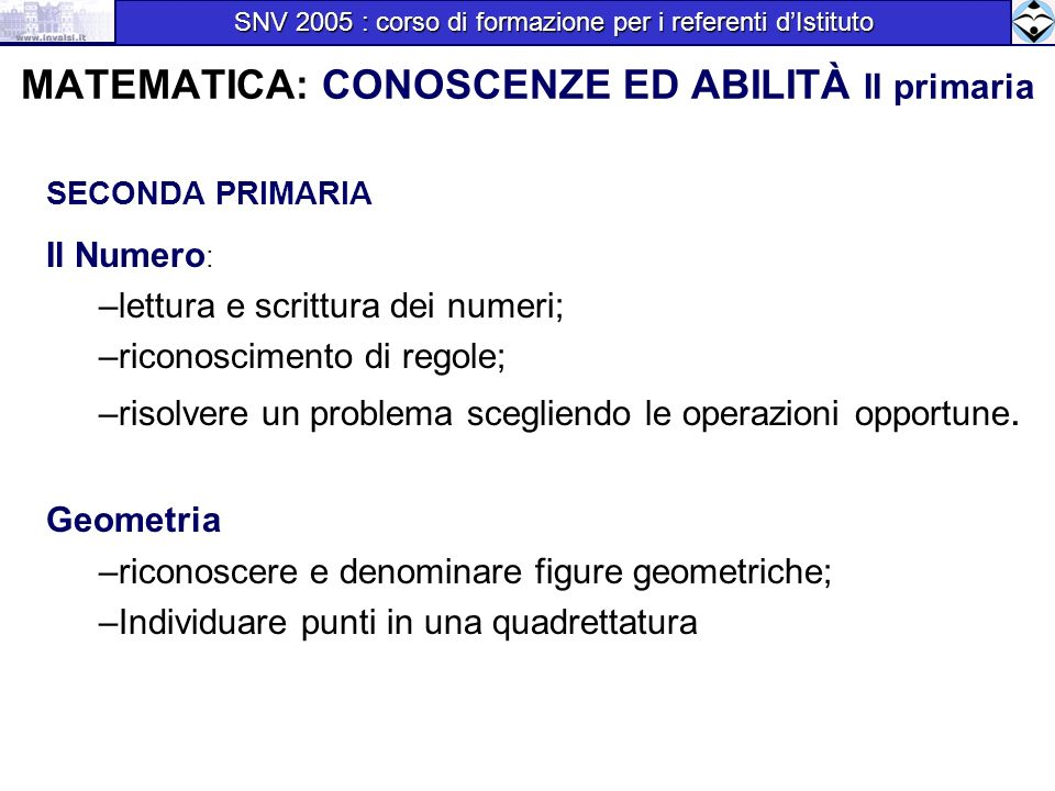 MATEMATICA: CONOSCENZE ED ABILITÀ II primaria