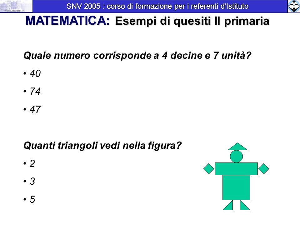 MATEMATICA: Esempi di quesiti II primaria
