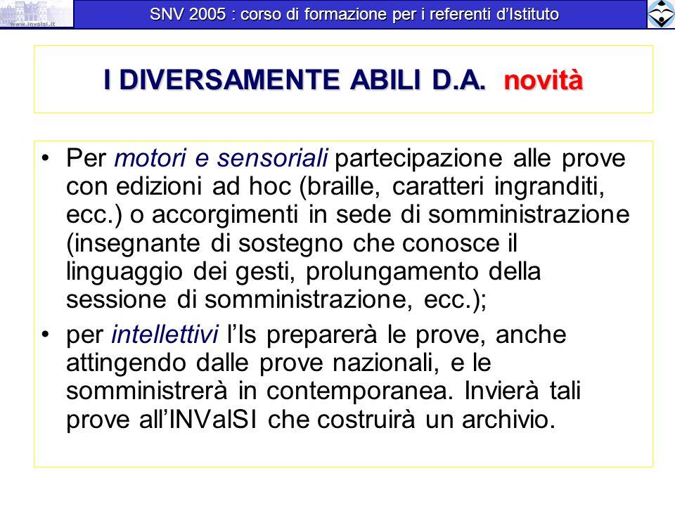 I DIVERSAMENTE ABILI D.A. novità