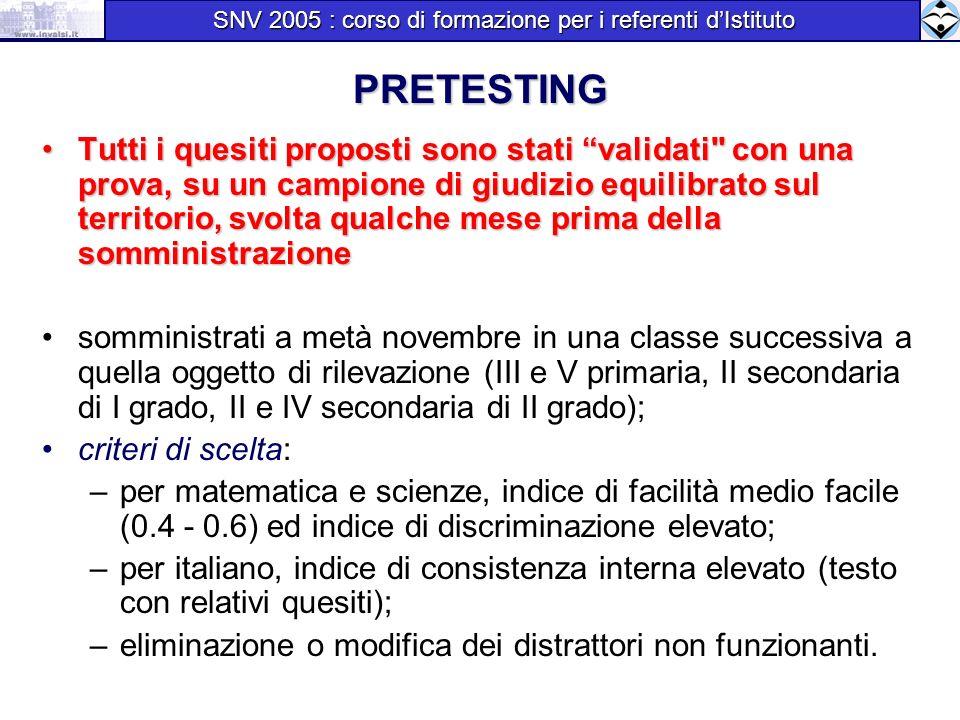 SNV 2005 : corso di formazione per i referenti d'Istituto