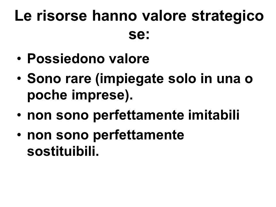 Le risorse hanno valore strategico se: