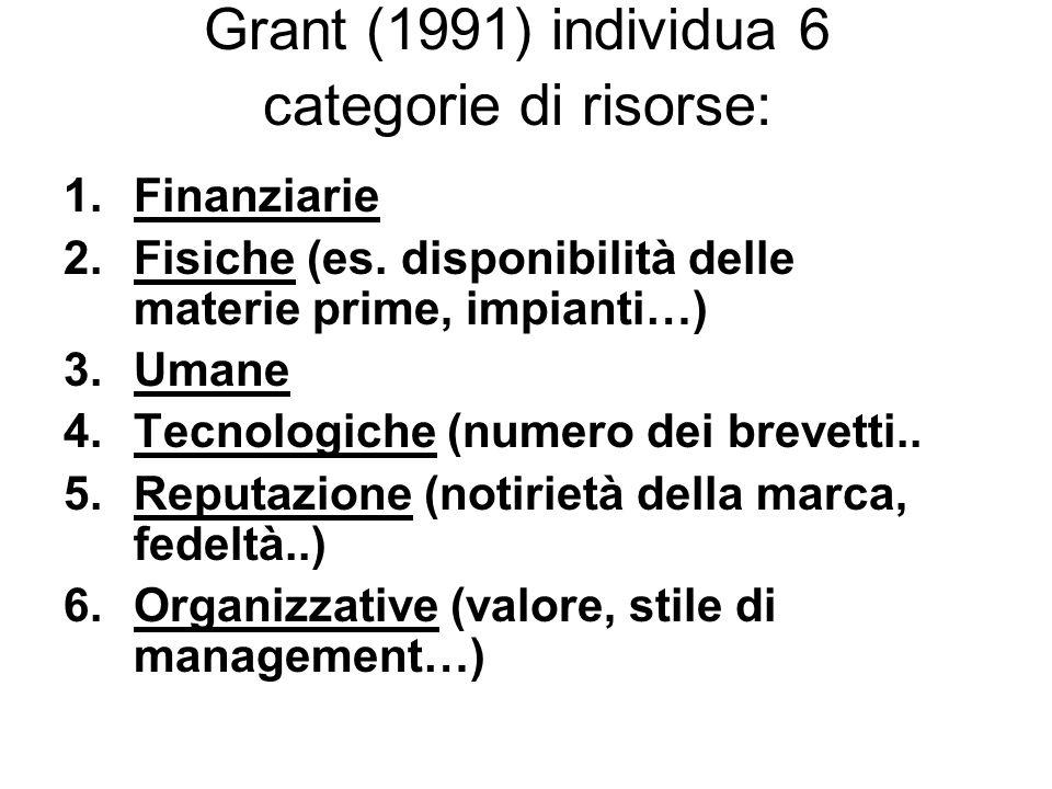 Grant (1991) individua 6 categorie di risorse: