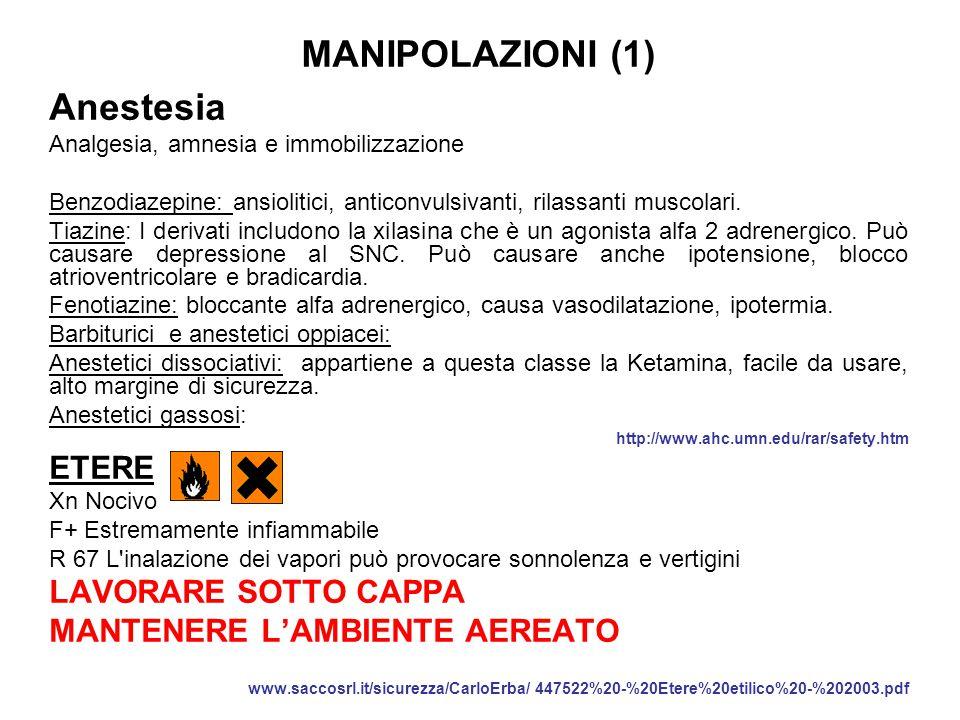 MANIPOLAZIONI (1) Anestesia ETERE LAVORARE SOTTO CAPPA