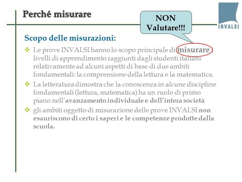 Perché misurare NON Valutare!!! Scopo delle misurazioni: