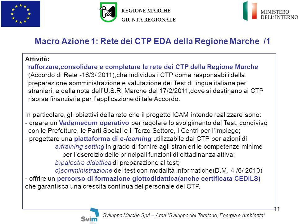Macro Azione 1: Rete dei CTP EDA della Regione Marche /1