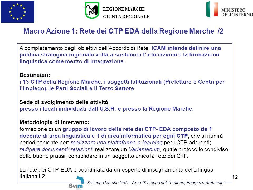 Macro Azione 1: Rete dei CTP EDA della Regione Marche /2
