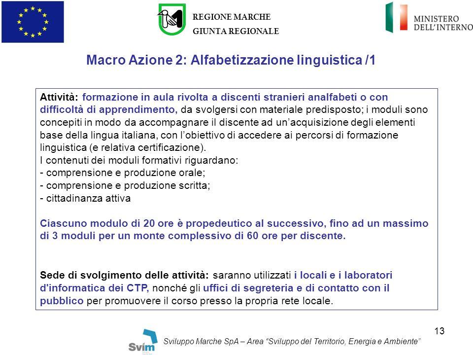 Macro Azione 2: Alfabetizzazione linguistica /1