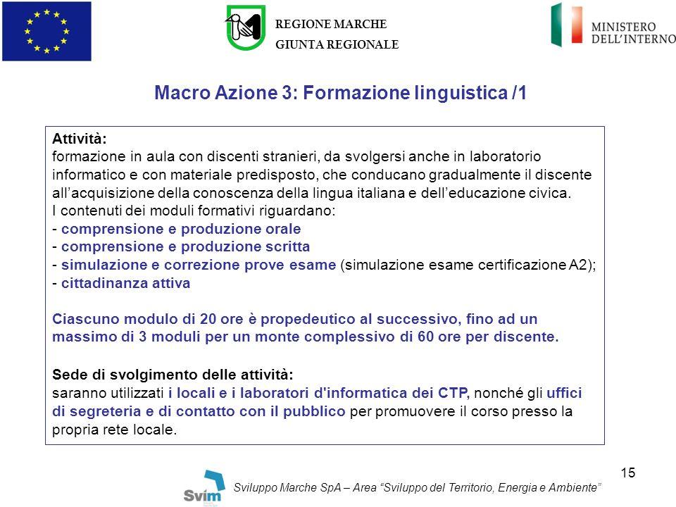 Macro Azione 3: Formazione linguistica /1