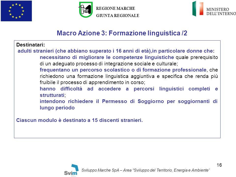 Macro Azione 3: Formazione linguistica /2