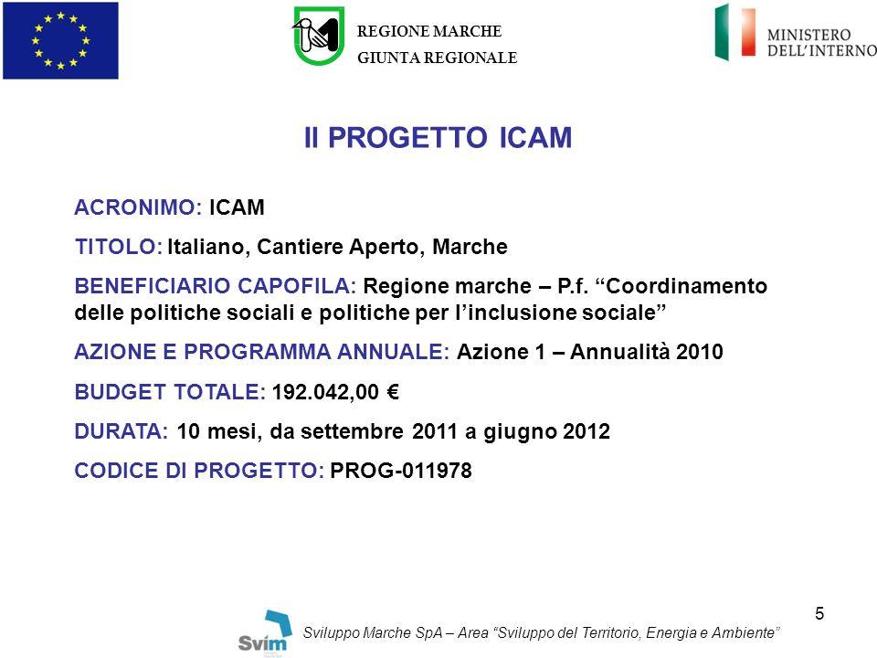Il PROGETTO ICAM ACRONIMO: ICAM