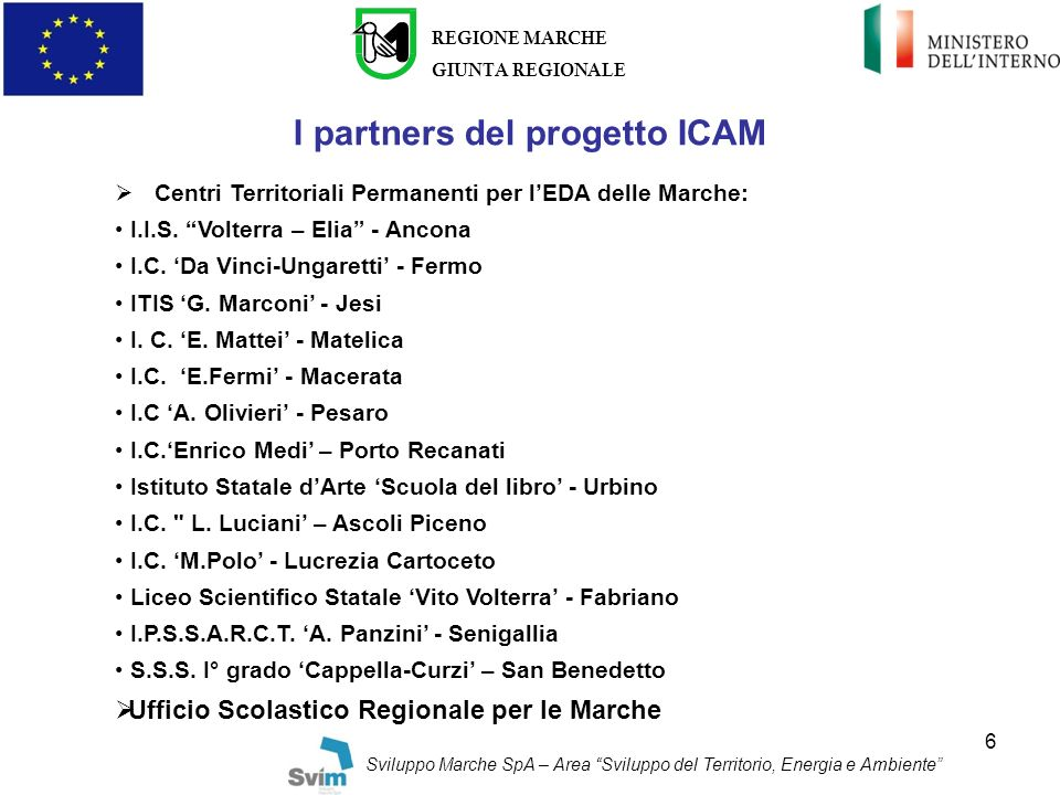 I partners del progetto ICAM
