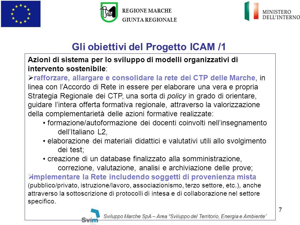Gli obiettivi del Progetto ICAM /1
