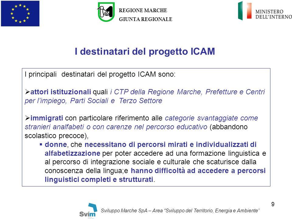 I destinatari del progetto ICAM