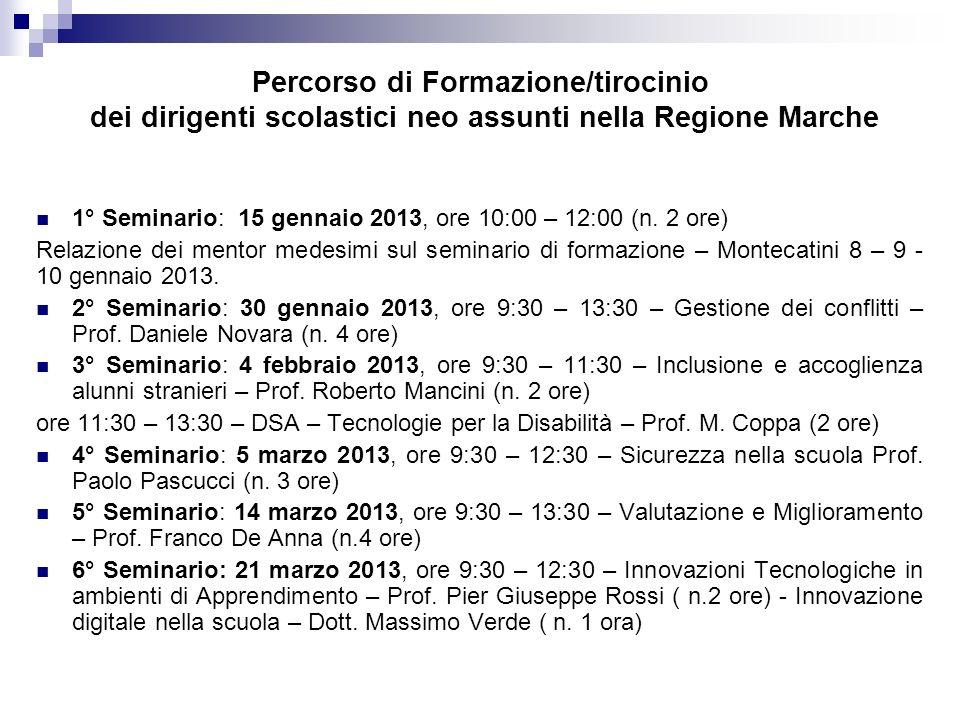 Percorso di Formazione/tirocinio dei dirigenti scolastici neo assunti nella Regione Marche