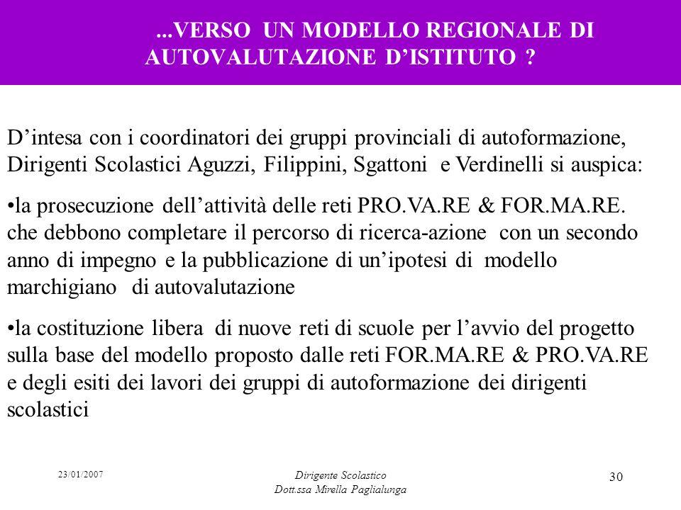 ...VERSO UN MODELLO REGIONALE DI AUTOVALUTAZIONE D'ISTITUTO