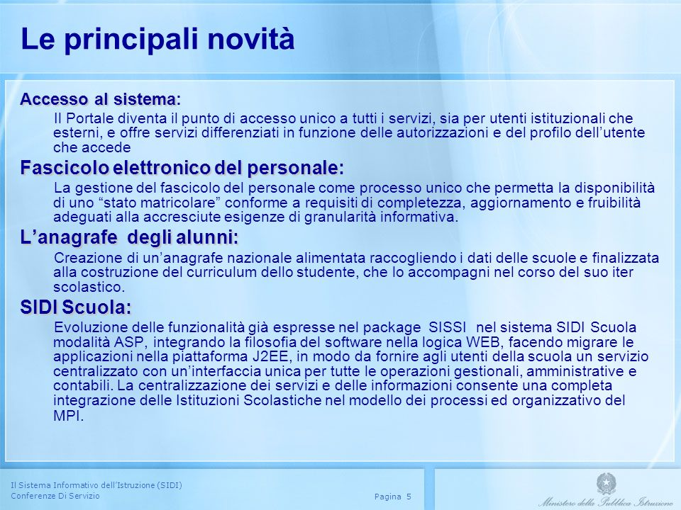 Le principali novità Fascicolo elettronico del personale:
