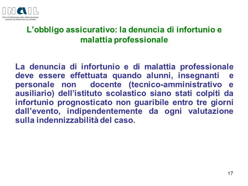 L'obbligo assicurativo: la denuncia di infortunio e malattia professionale