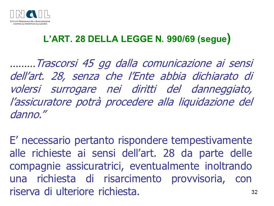 L'ART. 28 DELLA LEGGE N. 990/69 (segue)