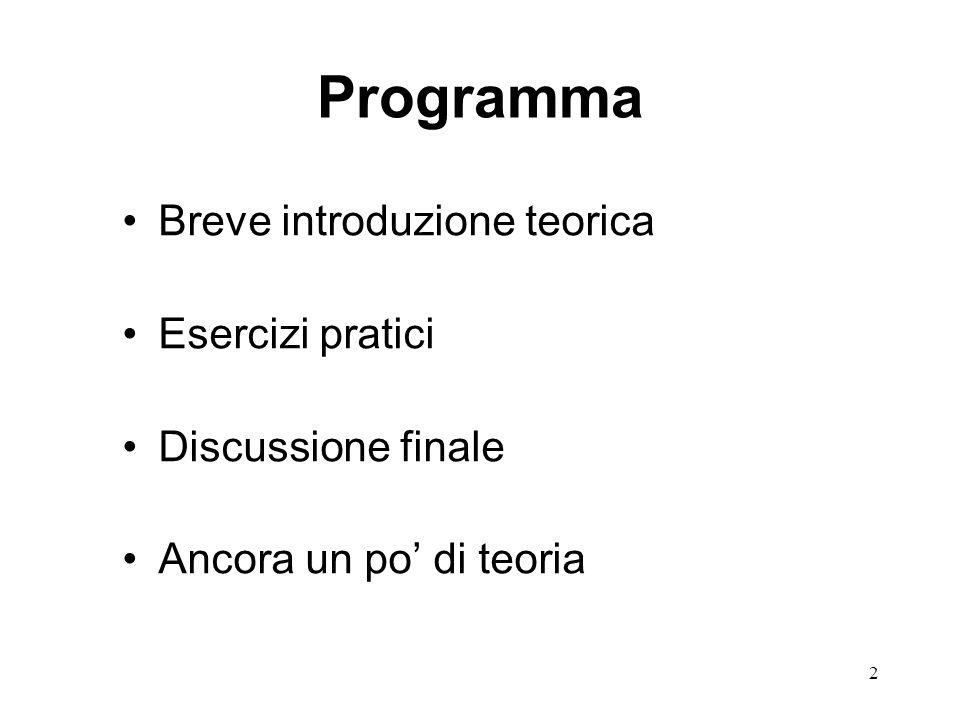 Programma Breve introduzione teorica Esercizi pratici