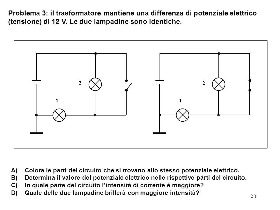 Problema 3: il trasformatore mantiene una differenza di potenziale elettrico (tensione) di 12 V. Le due lampadine sono identiche.