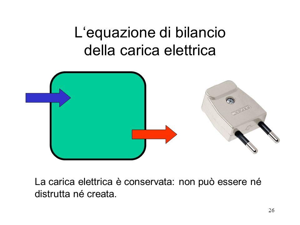 L'equazione di bilancio della carica elettrica