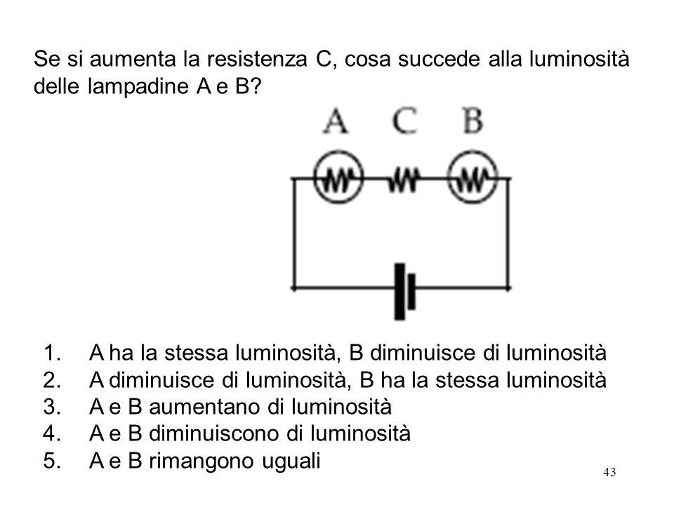 Se si aumenta la resistenza C, cosa succede alla luminosità delle lampadine A e B