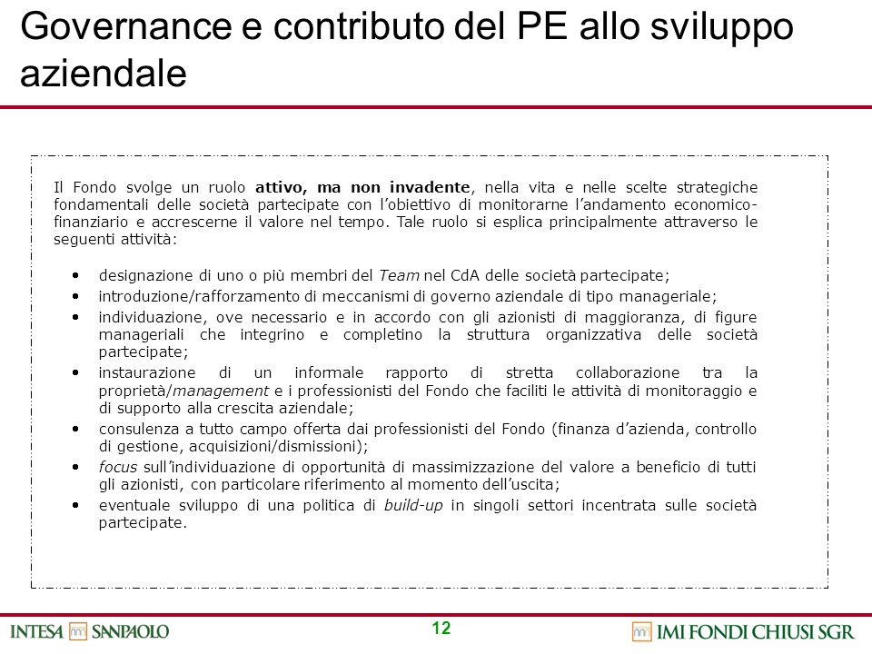 Governance e contributo del PE allo sviluppo aziendale