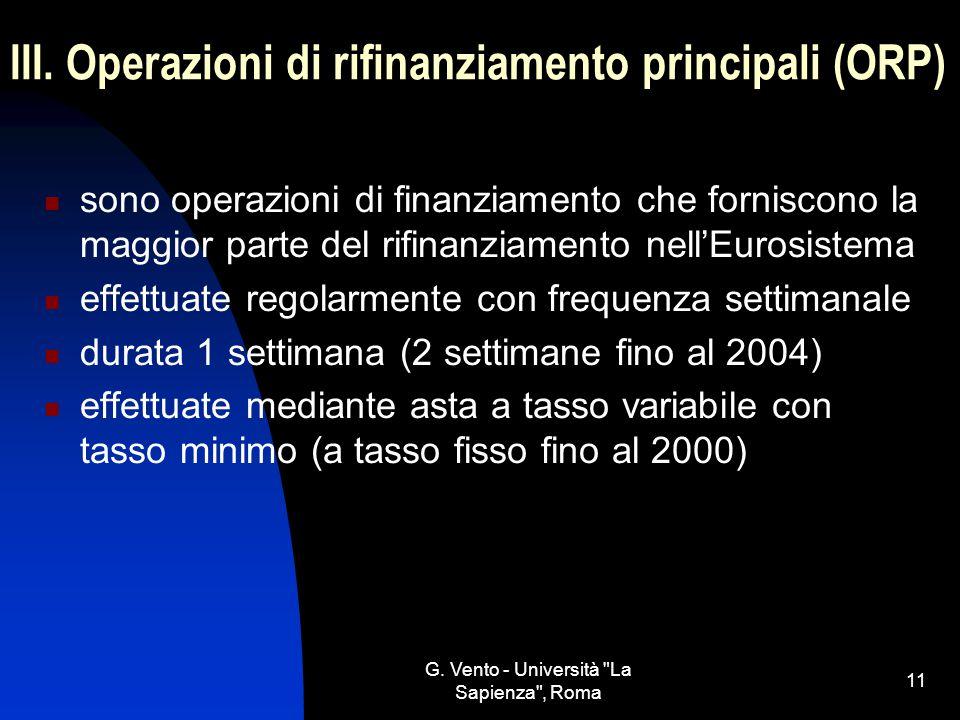 III. Operazioni di rifinanziamento principali (ORP)