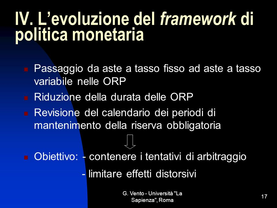 IV. L'evoluzione del framework di politica monetaria