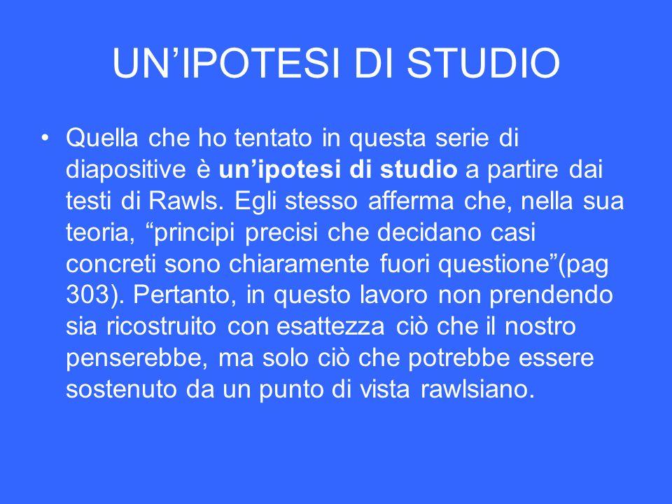 UN'IPOTESI DI STUDIO