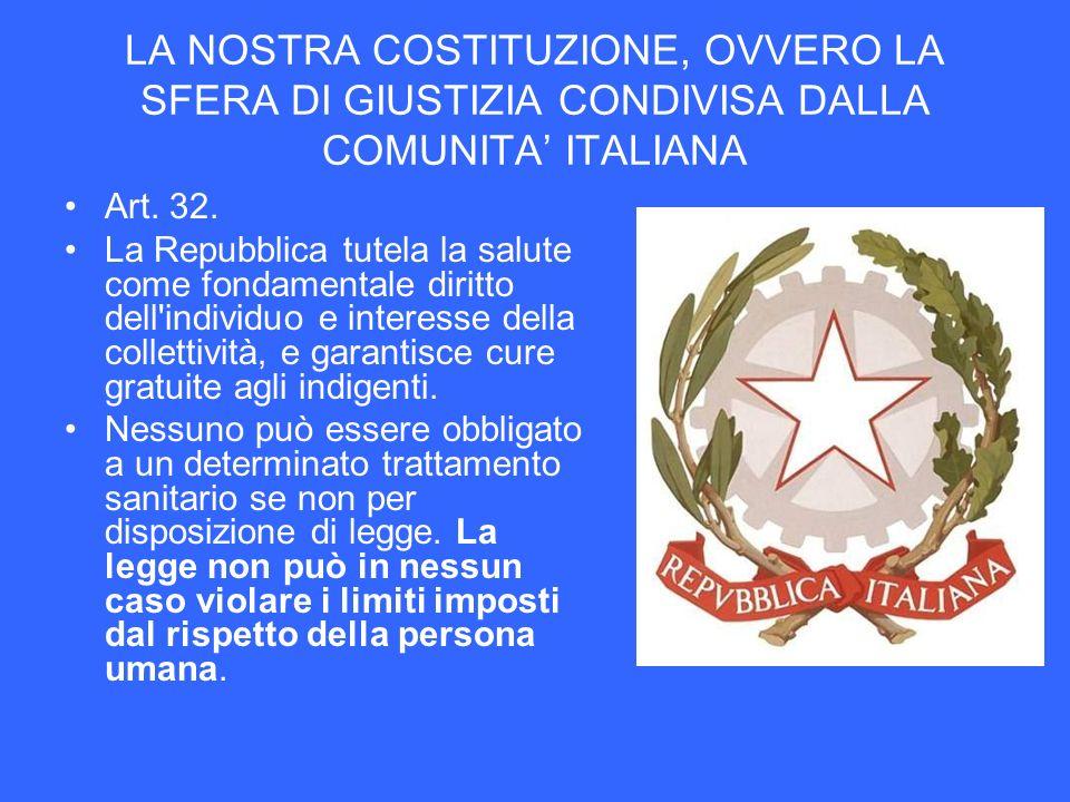 LA NOSTRA COSTITUZIONE, OVVERO LA SFERA DI GIUSTIZIA CONDIVISA DALLA COMUNITA' ITALIANA