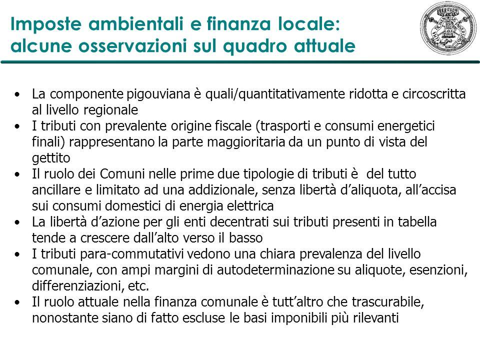 Imposte ambientali e finanza locale: alcune osservazioni sul quadro attuale