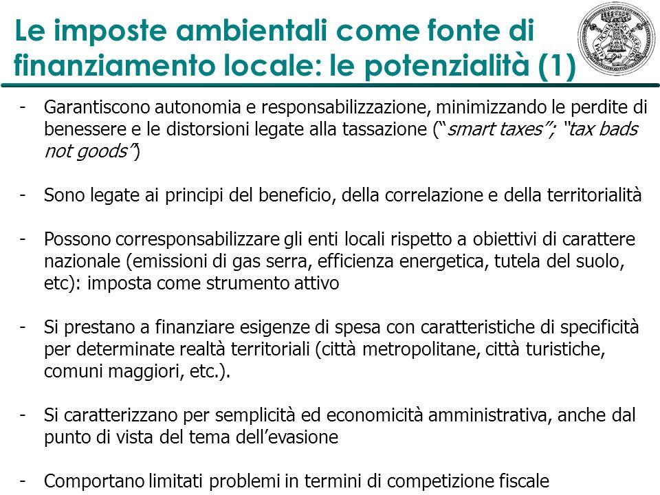 Le imposte ambientali come fonte di finanziamento locale: le potenzialità (1)