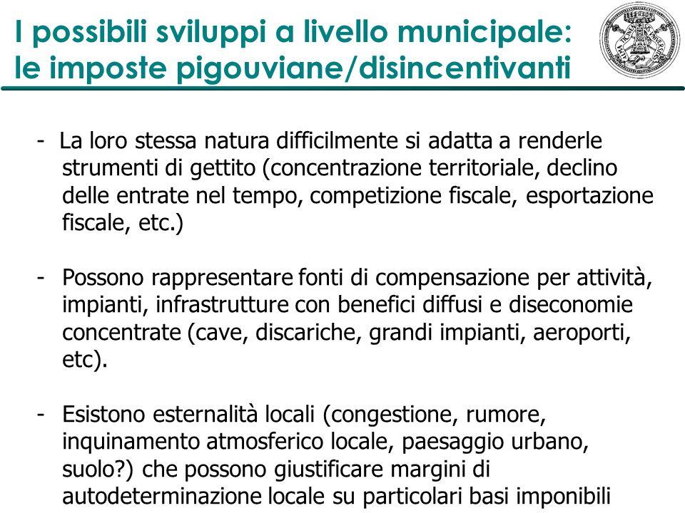 I possibili sviluppi a livello municipale: le imposte pigouviane/disincentivanti