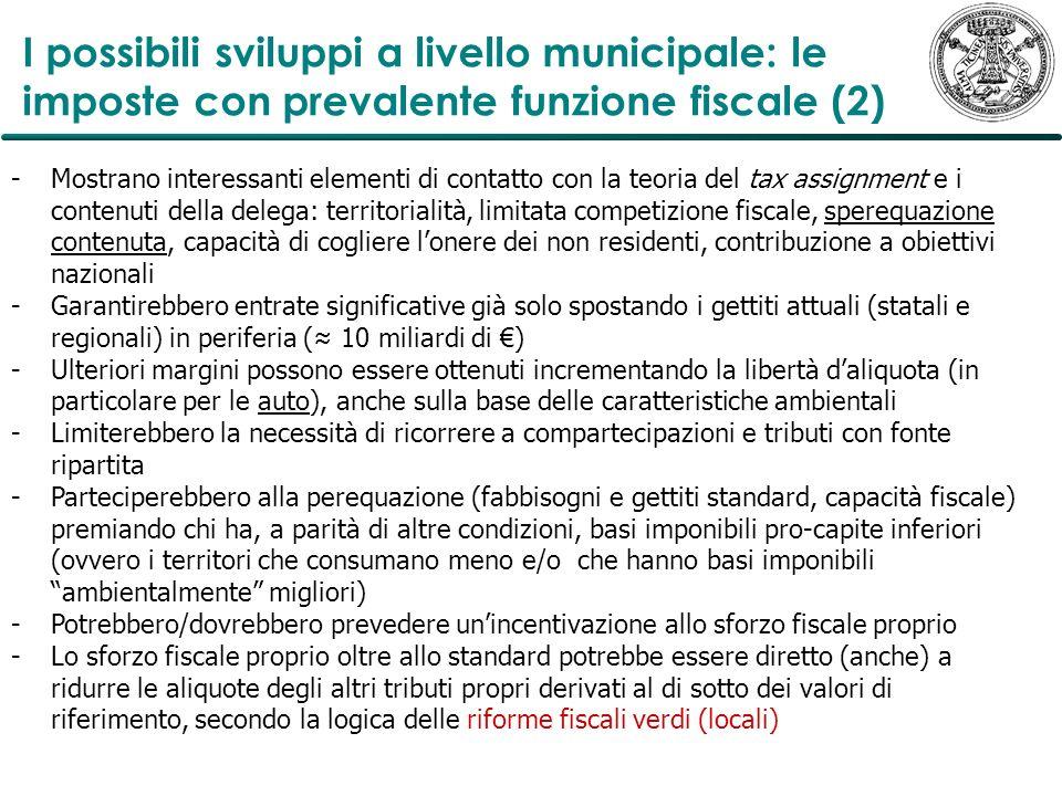 I possibili sviluppi a livello municipale: le imposte con prevalente funzione fiscale (2)
