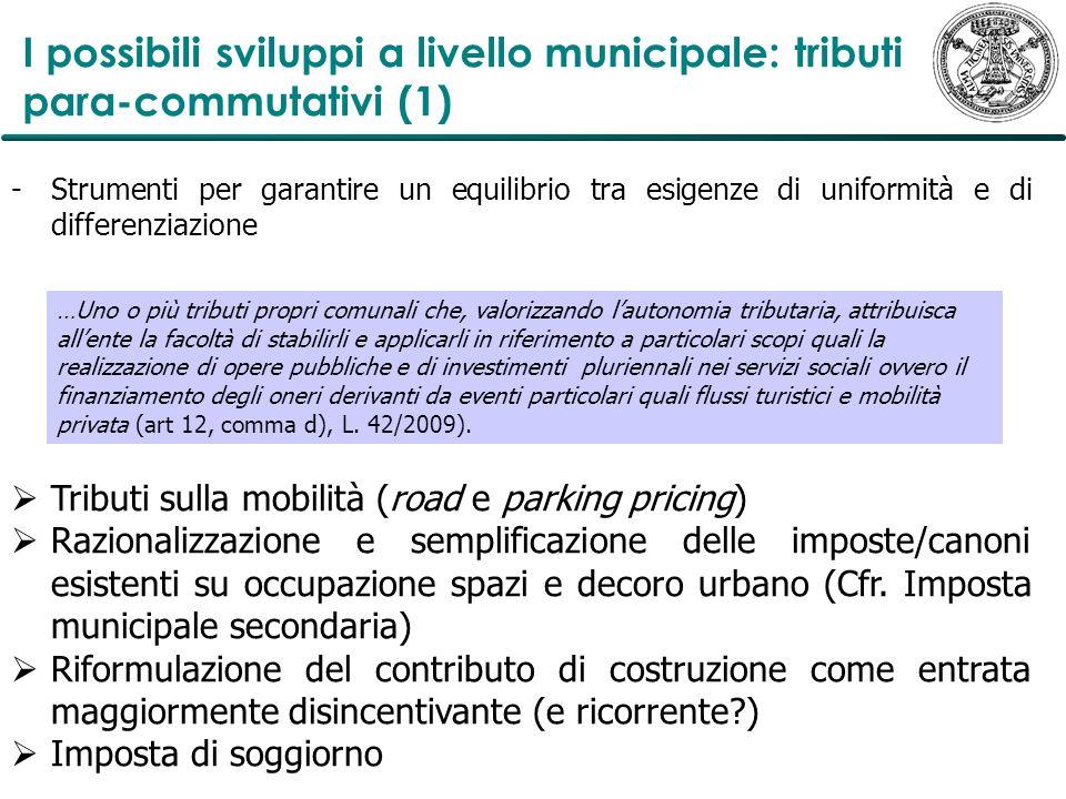 I possibili sviluppi a livello municipale: tributi para-commutativi (1)